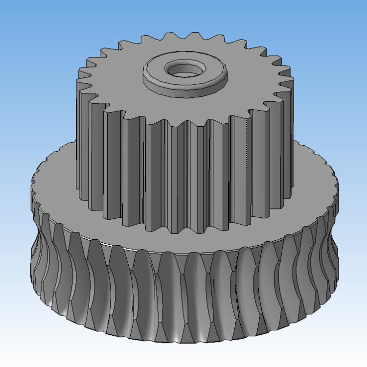3D модель шестерни червячной передачи редуктора ламинатора